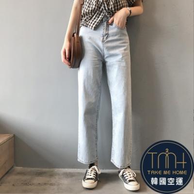 韓國空運 水洗刷色直筒牛仔褲-TMH