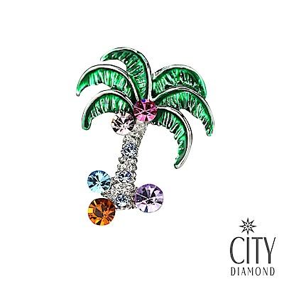 City Diamond引雅【東京Yuki系列】日系綠椰子樹領帶/別針/胸針/徽章(白K)