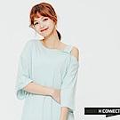 H:CONNECT 韓國品牌 女裝 - 斜肩開衩單色洋裝-藍(快)