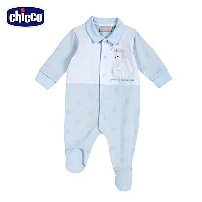 chicco-藍格熊-有領側開長袖兔裝-藍白