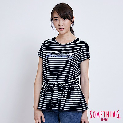 SOMETHING INDIGO靛藍條紋收腰 短袖T恤-女-中古藍