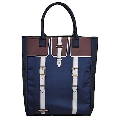 Aquascutum 皮釦造型圖騰字母LOGO轉印手提肩背購物包(深藍色)