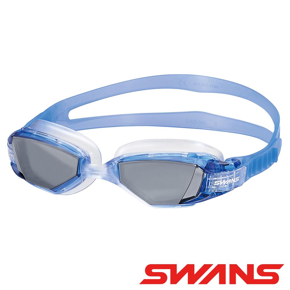 【SWANS 日本】OUTDOOR泳鏡(OWS-1MS藍灰/防霧/抗UV/矽膠/廣角)