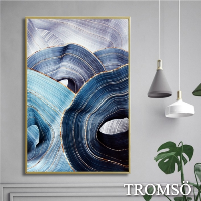 TROMSO北歐時代風尚有框畫-湖藍轉金WA121