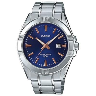 CASIO 引領時尚型男白領風格不鏽鋼腕錶-藍面(MTP-1308D-2A)