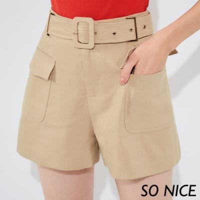 SO NICE率性百搭寬腰帶短褲