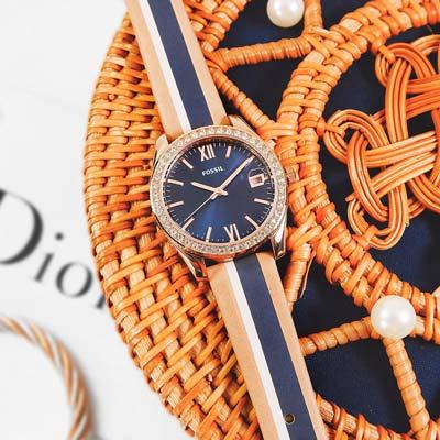 FOSSIL Scarlette 晶鑽鑲圈 撞色 真皮手錶-藍x玫瑰金x卡其/32mm