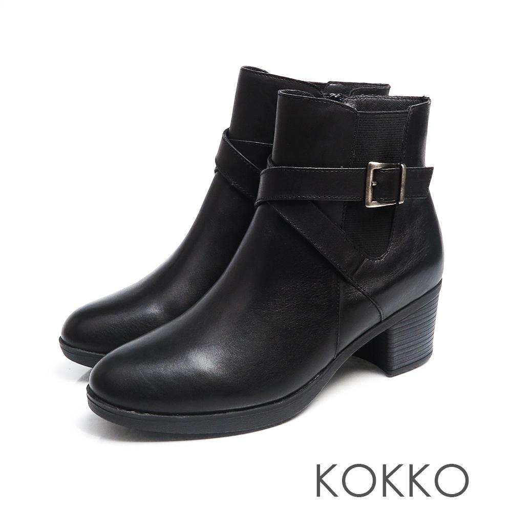 KOKKO懷舊風漸層刷色牛皮粗跟短靴經典黑