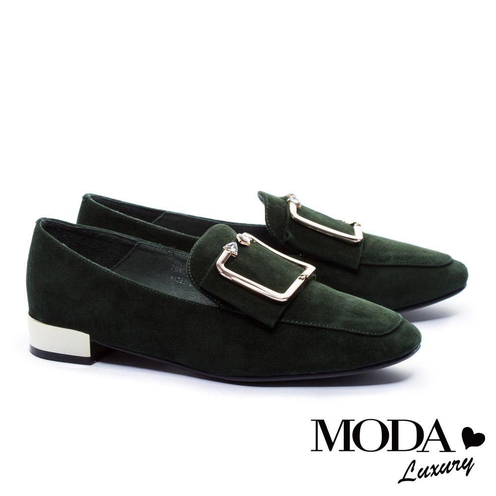 低跟鞋 MODA Luxury 摩登麂皮金屬方釦帶方頭低跟鞋-綠 @ Y!購物
