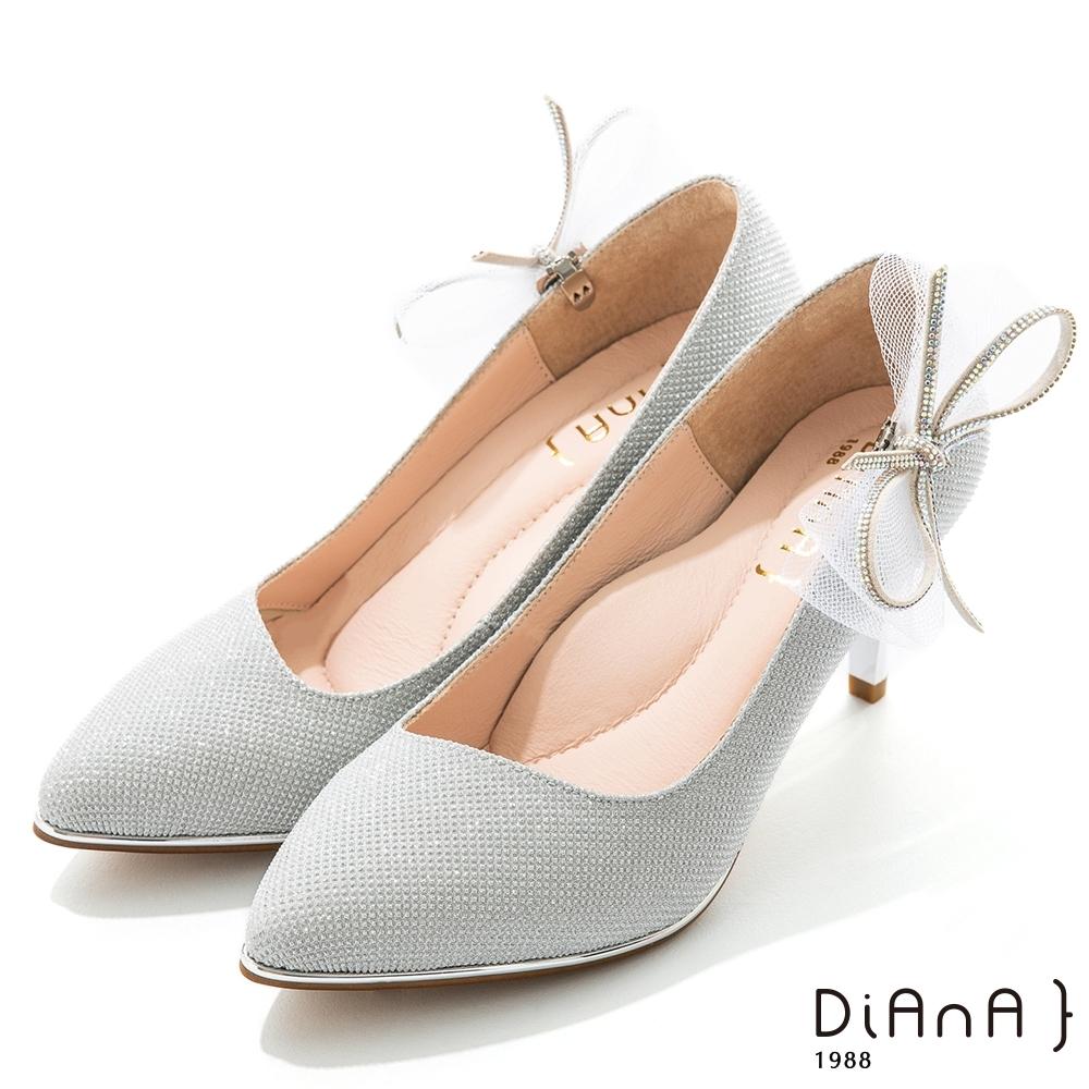 DIANA 6.5cm 法式鑽石紋水鑽蝴蝶結夾飾婚鞋-璀璨閃耀-晶亮銀