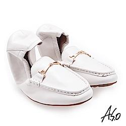 A.S.O輕履鞋 小羊皮簡約飾釦可折疊穆勒鞋 白