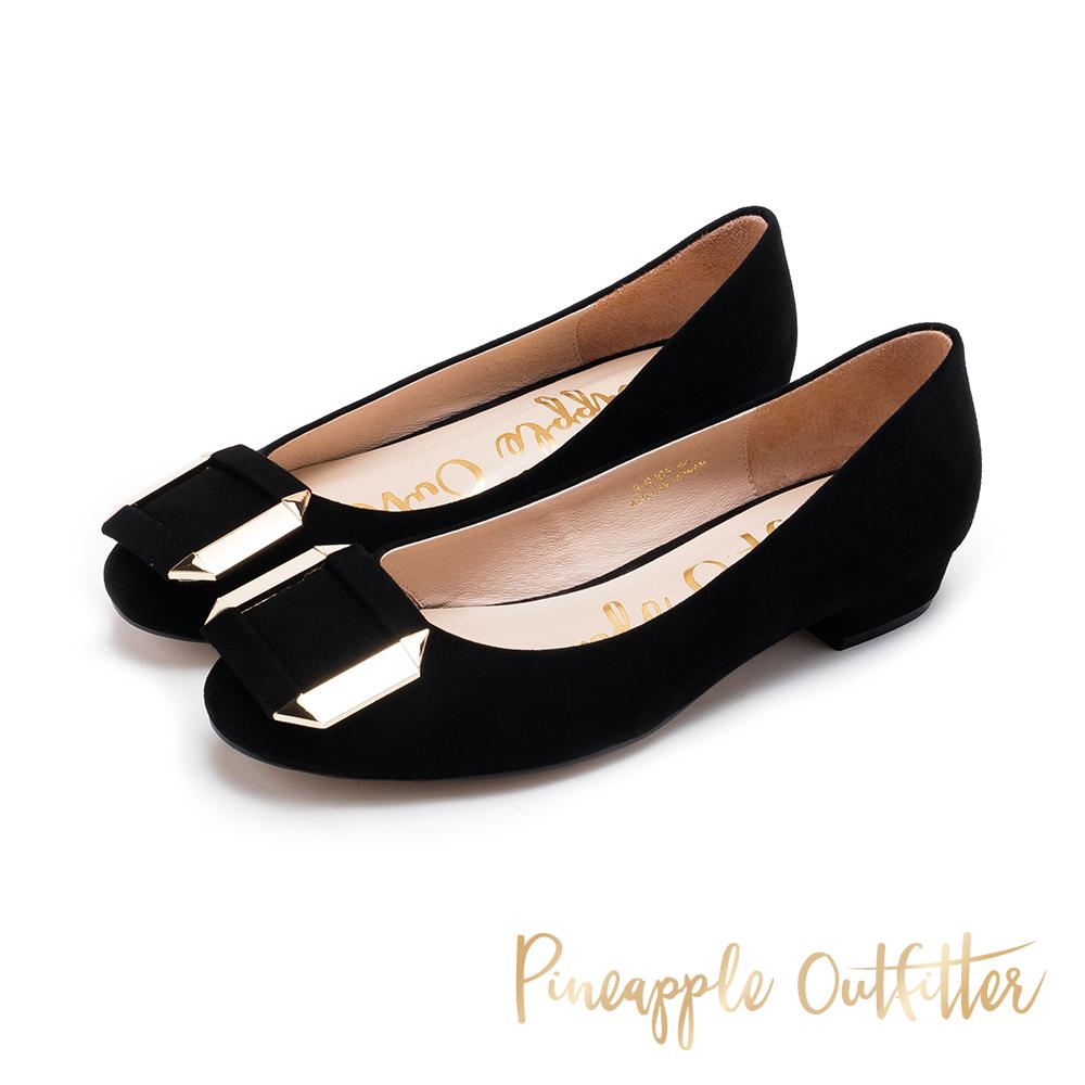 Pineapple Outfitter 閃耀迷人 金屬方扣真皮低跟鞋-黑色