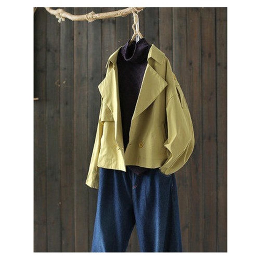 重工刺繡大翻領雙排扣短版外套寬鬆上衣-設計所在