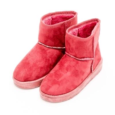 River&Moon雪靴-韓版繽紛細絨內撲毛短雪靴 紅