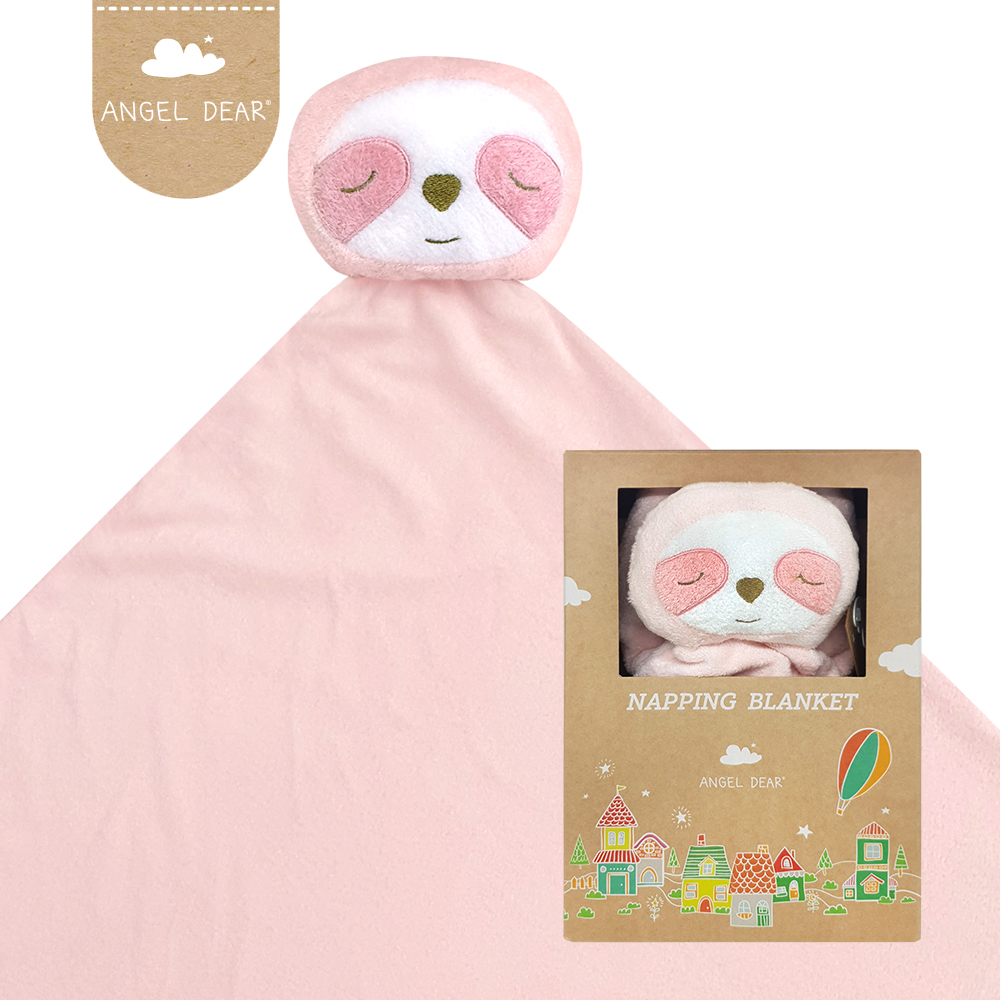 美國 Angel Dear 大頭動物嬰兒毛毯禮盒版 (粉紅小樹懶)