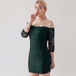 AIR SPACE PLUS 透肌感拼接蕾絲包臀洋裝(綠)