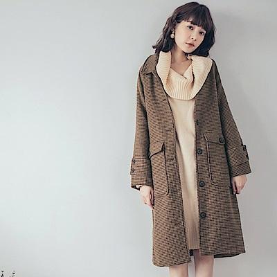 棕色調千鳥格紋毛呢大衣外套-OB大尺碼