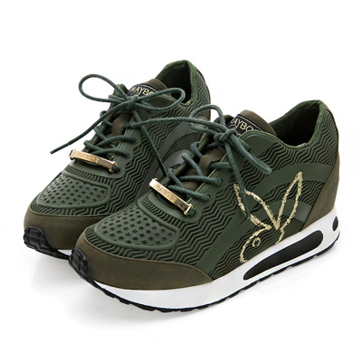 PLAYBOY率性狂想 仿皮內增高休閒鞋-綠