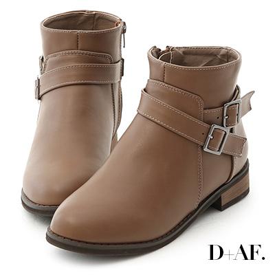 D+AF 百搭潮流.交叉釦帶軍風短靴*棕