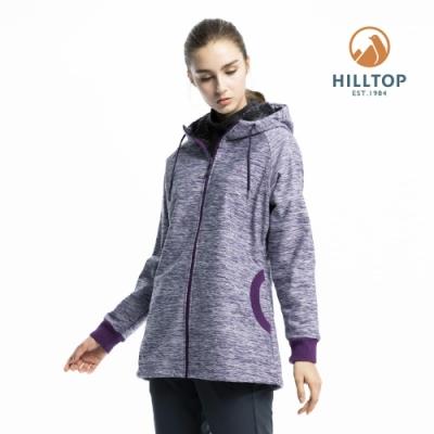 【hilltop山頂鳥】女款防風透氣保暖連帽刷毛外套H22FV7紫麻花