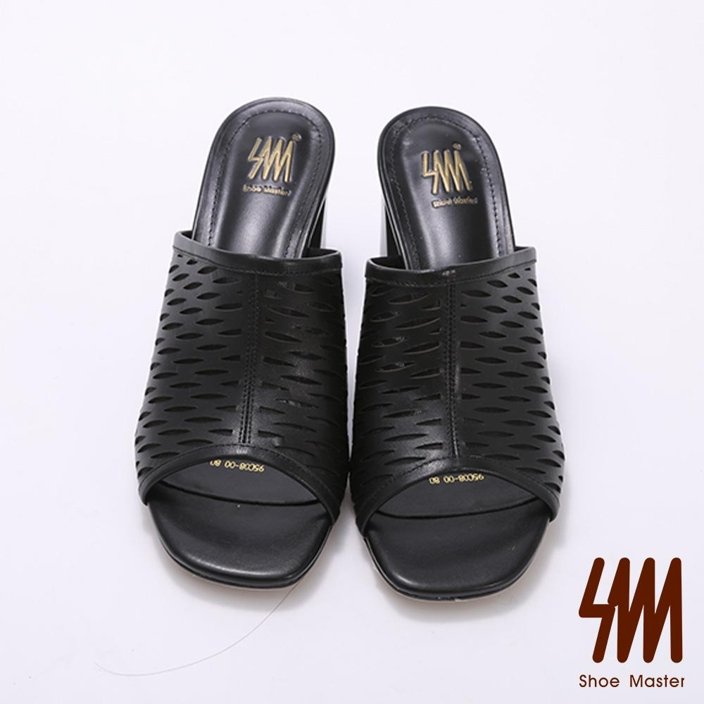 SM-獨特網狀縷空高跟拖鞋