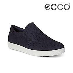 ECCO SOFT 1 W 極簡舒適套入式懶人鞋 女-深藍