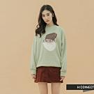 H:CONNECT 韓國品牌 女裝-圖印標語落肩大學T-綠