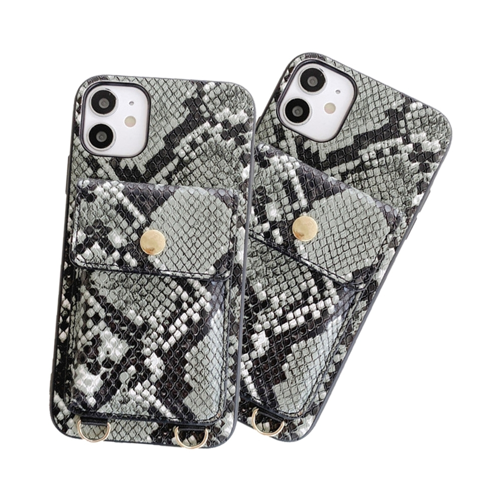 iPhone 12 鱷魚皮紋 可插卡 收納 手機 四邊 防摔 軟邊 手機殼 黑綠款 附 斜背繩 (iPhone12手機殼 iPhone12保護殼 )
