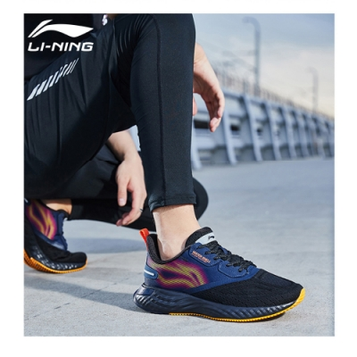 LI-NING 李寧 雲五代SHIELD減震系列慢跑鞋 標準黑/廣東藍/子橙色 男款(ARHQ243-1)