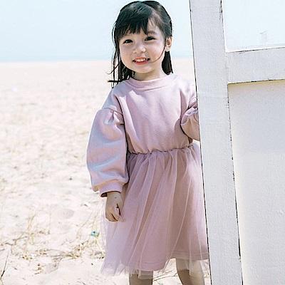 Baby unicorn 粉紅拼接紗裙長袖洋裝
