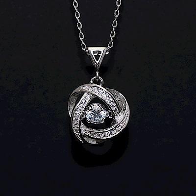 梨花HANA  會跳舞的鑽石愛心漩渦鎖骨鍊