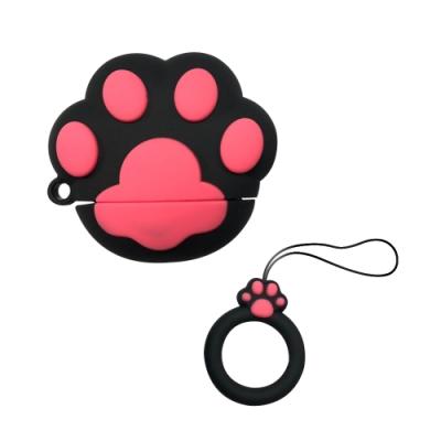 (贈防丟繩)AirPods 貓掌造型保護套(1/2代通用)/黑色