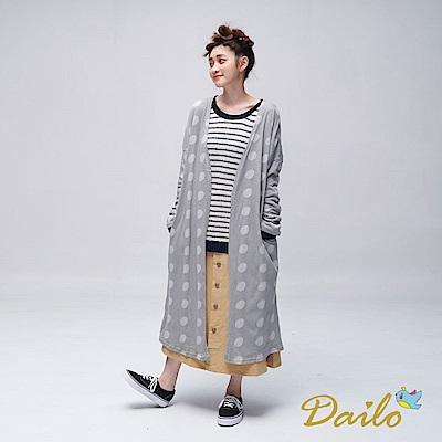 Dailo INLook波卡圓點針織薄衫(灰)