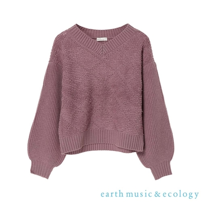 earth music 菱格紋V領針織上衣