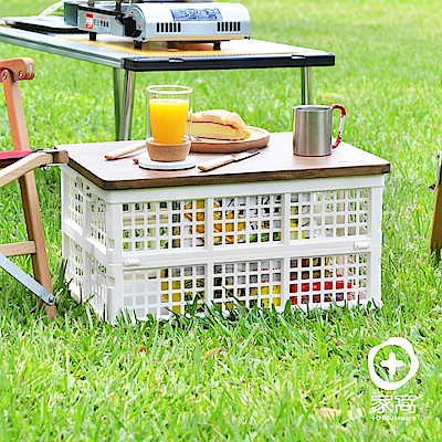 O家窩杉崎野餐露營實木摺疊收納桌1籃1板-附提袋