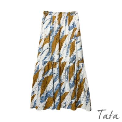線條雙色刷漆感長裙 TATA-F