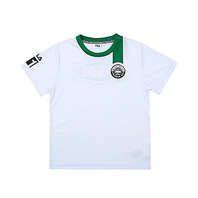 FILA KIDS 童吸濕排汗短袖上衣-白色 1TET-4451-WT