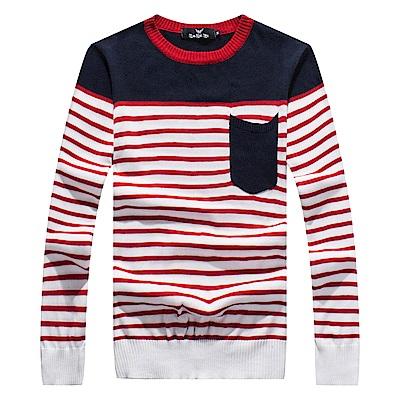 DITION 復古毛領 口袋拼接條紋針織衫 撞色毛衣