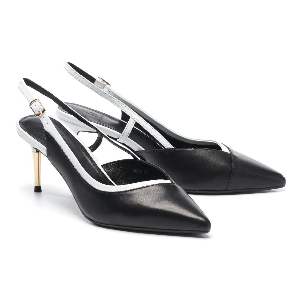 高跟鞋 HELENE SPARK 簡約時尚撞色全真皮後繫帶高跟鞋-黑