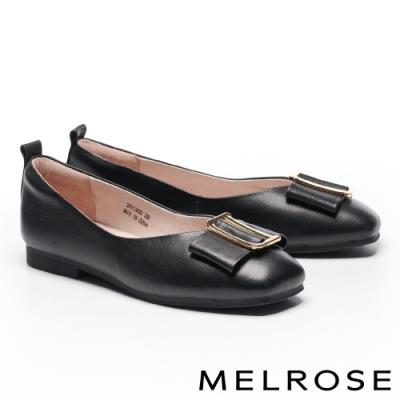 低跟鞋 MELROSE 氣質高雅蝴蝶結金屬飾釦全真皮方頭低跟鞋-黑