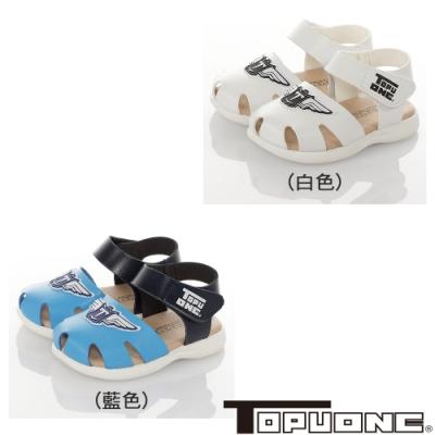 TOPUONE童鞋 傳統手工鞋高級超纖皮革防滑學步涼鞋-白.黑