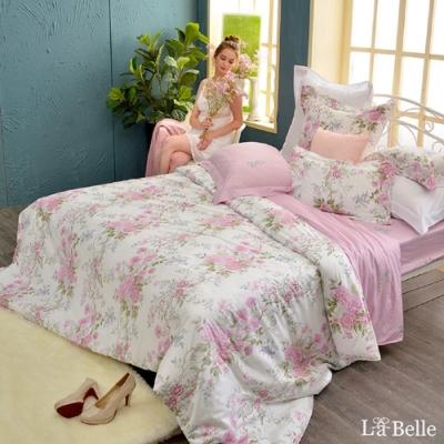 義大利La Belle 花曜薔薇 加大純棉防蹣抗菌吸濕排汗兩用被床包組