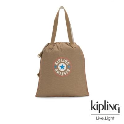 Kipling 復古卡其撞色大LOGO束口抽繩手提袋-NEW HIPHURRAY
