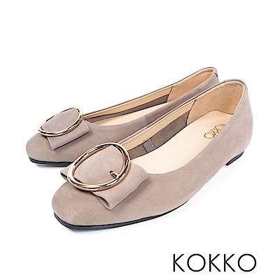 KOKKO -微涼空氣全真皮圓扣平底鞋-紳士灰