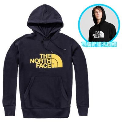 The North Face 中性款 經典大LOGO 彈性長袖可調節保暖連帽上衣.T恤_海軍藍