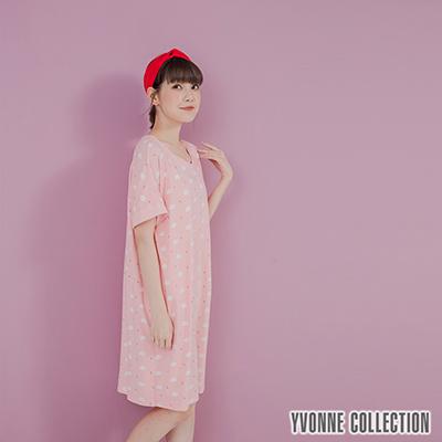YVONNE手繪豬豬印花V領短袖洋裝-淺粉