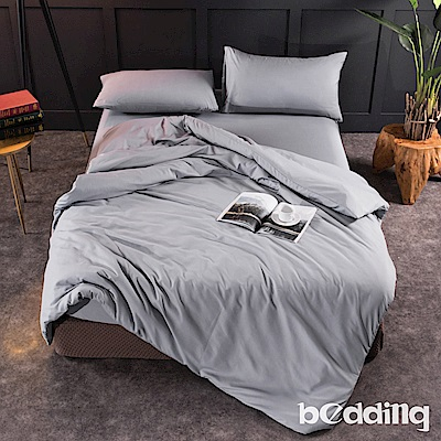BEDDING-活性印染日式簡約純色系雙人薄式床包枕套三件組-明灰色
