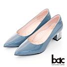 【bac】歐美簡約素雅尖頭透明配色粗跟高跟鞋-藍