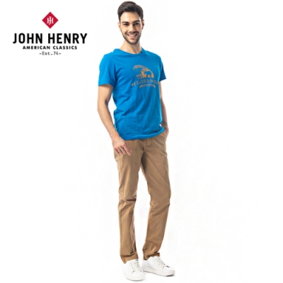 【JOHN HENRY】野外探險印花短袖T恤-藍色