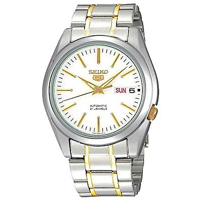 SEIKO 男神經典5號自動上鍊機械腕錶(SNKL47J1)-白+金x37mm